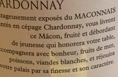 L'Aurore, Macon vin blanc L'Aurore, la bouteille de 75 - Ingrédients