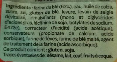 Pain de mie spécial sandwich - Ingrédients - fr