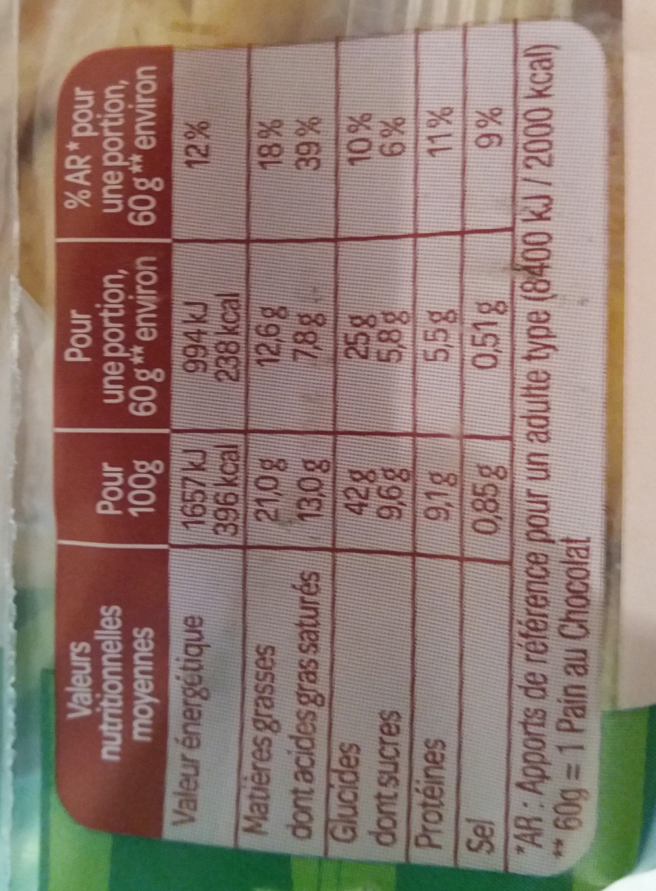 Pain au Chocolat - Informations nutritionnelles