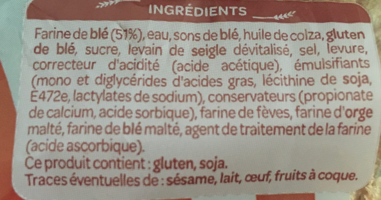 Pain complet spécial sandwich - Ingrédients - fr