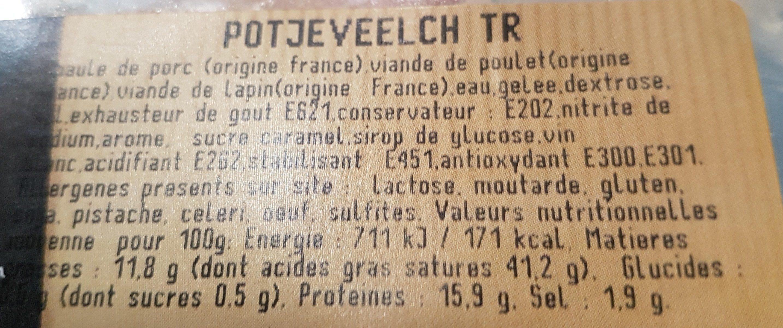 Potjerleesh - Ingrédients - fr