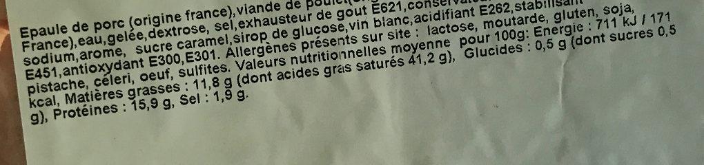 Potjerleesh - Informations nutritionnelles - fr