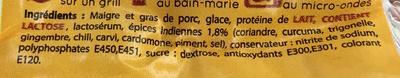 Saucisse à l'Indienne goût Curry - Ingredients - fr