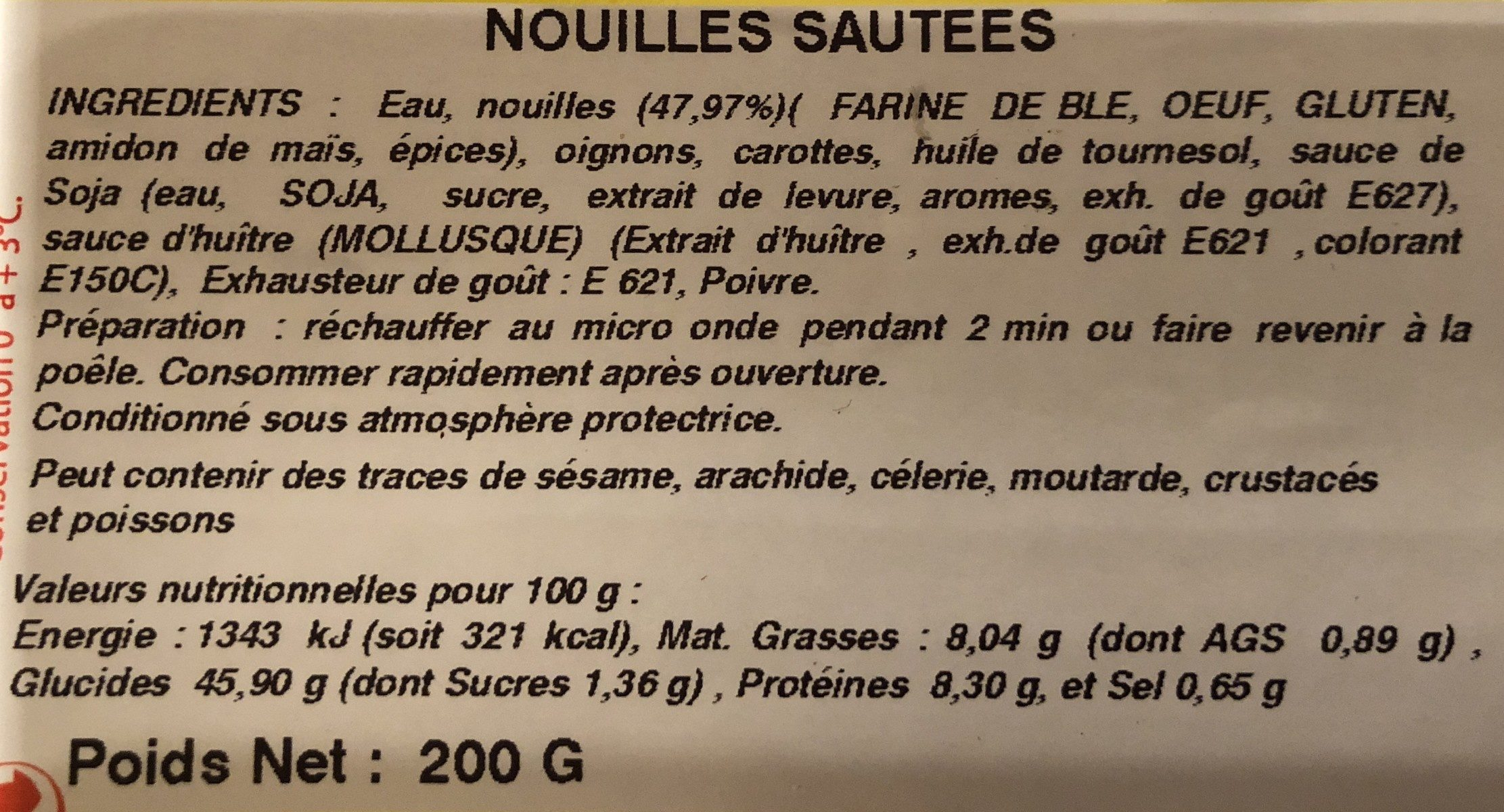 Nouilles Chinoises Sautées 200G - Ingrediënten - fr