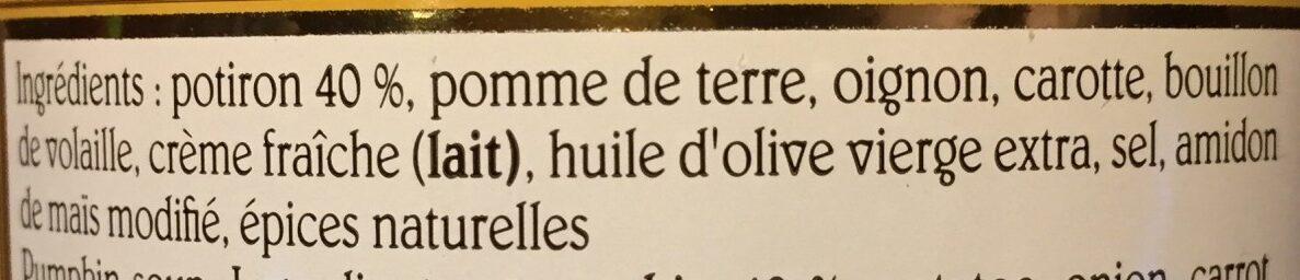 Veloute De Potiron 50CL - Ingrédients - fr