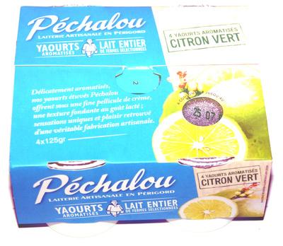 Péchalou, yaourts au lait entier aromatisés 'citron vert' - Product