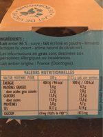 Péchalou, yaourts au lait entier aromatisés 'citron vert' - Voedingswaarden