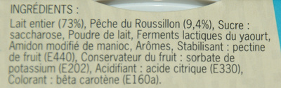 Yaourts à la pêche du Roussilon - Ingrédients