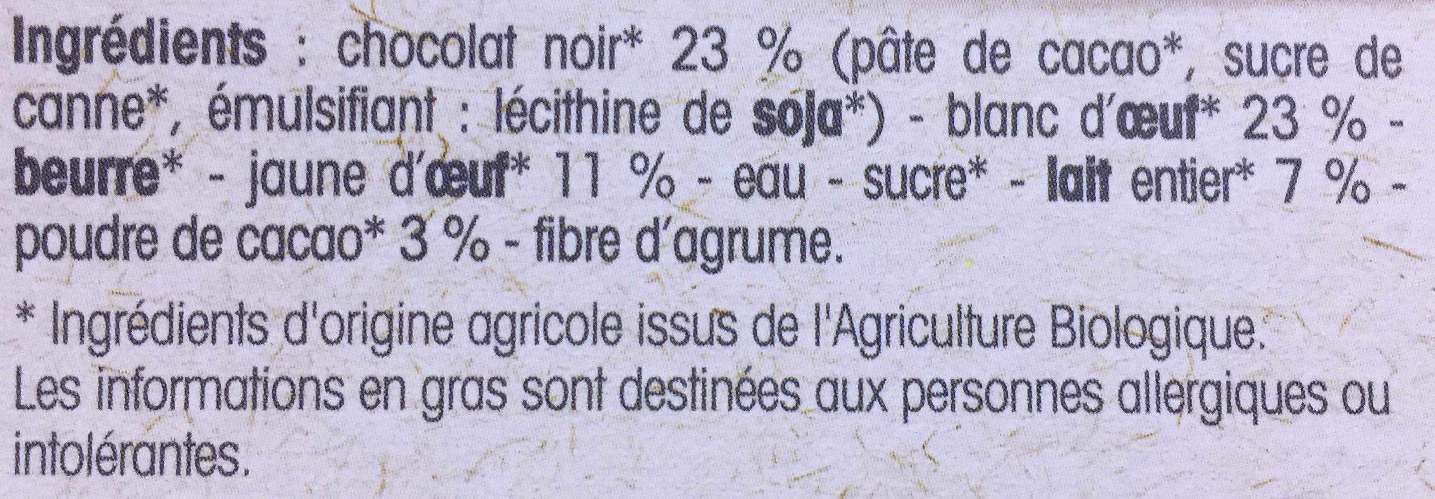 Mousse Chocolat noir - Ingredients