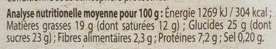 Mousse Chocolat noir - Nutrition facts