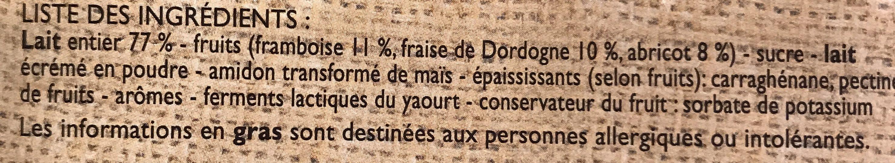 Yaourts aux Fruits (Framboise, Abricot, Fraise) - Ingredientes