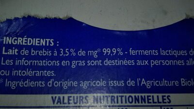 Yaourt brebis bio citron - Ingredients
