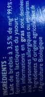 Yaourt brebis nature - Ingredients