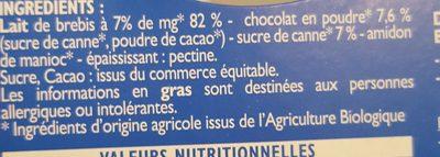 Crème Chocolat au lait de brebis - Ingredients