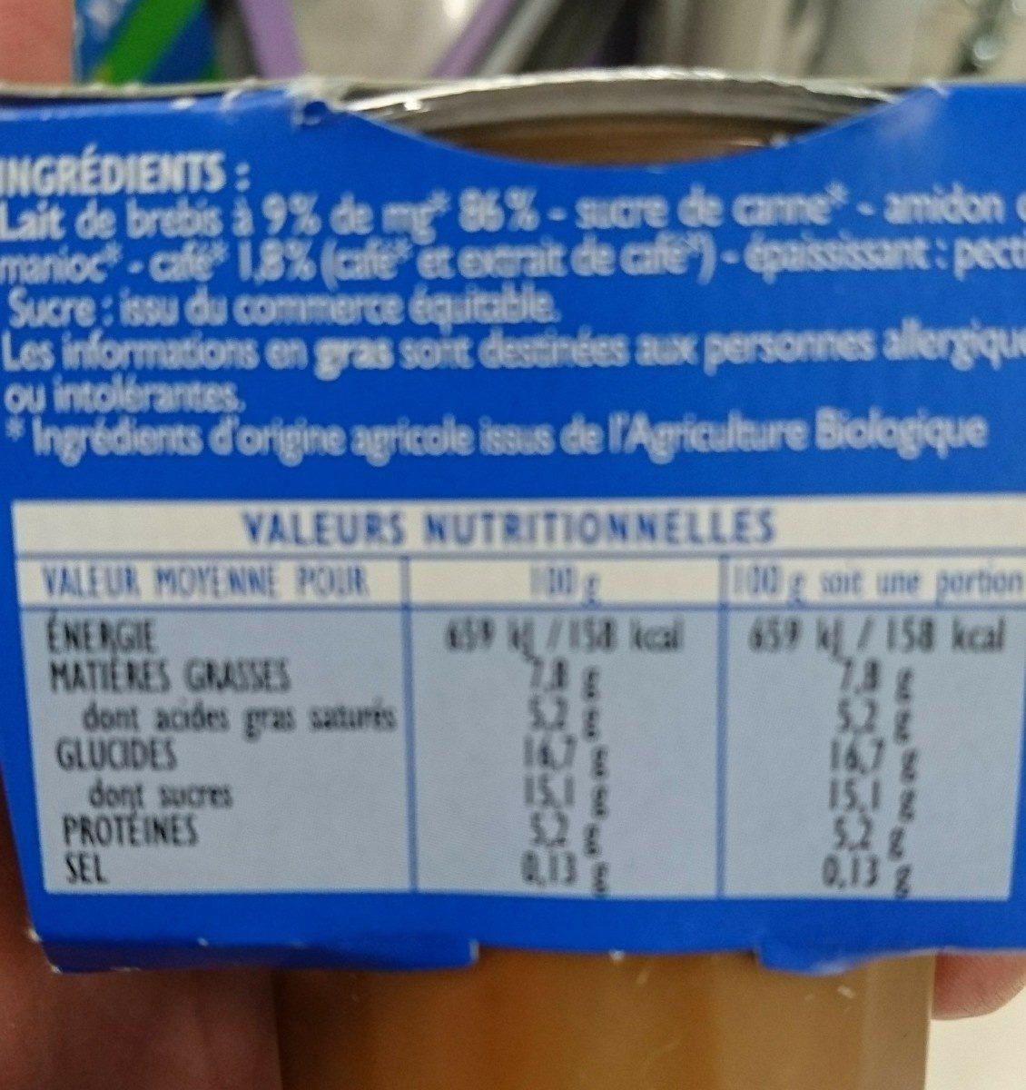 Crème Café au lait de Brebis - Ingredients