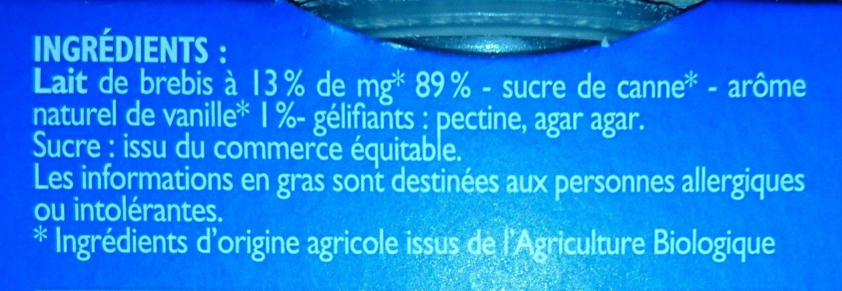 Panna cotta brebis bio - Ingredients - fr