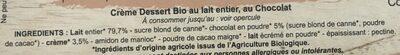 Creme artisanale bio Margo - Ingrédients - fr