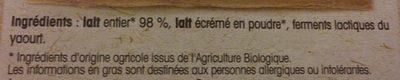 Yaourts étuvé nature - Ingredients - fr