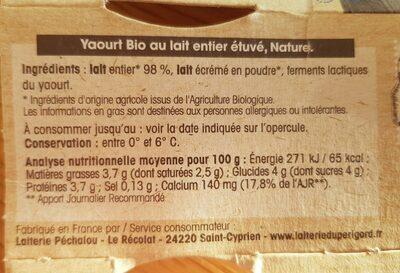 Yaourts étuvé nature - Nutrition facts - fr