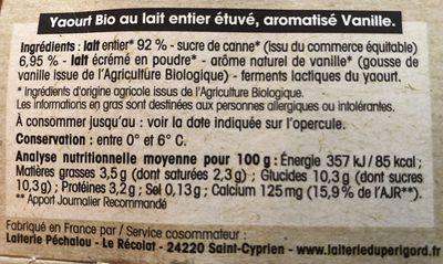 Yaourt étuvé au lait entier Vanille - Ingrédients - fr