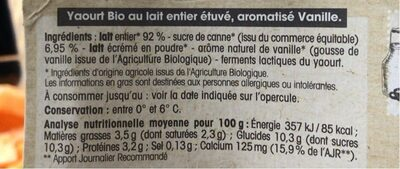 Yaourt étuvé au lait entier Vanille - Informations nutritionnelles - fr