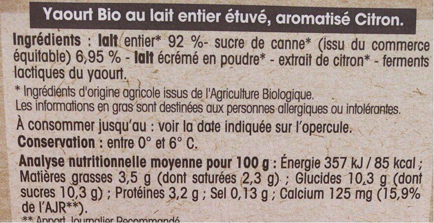 Yaourt Citron au lait entier - Nutrition facts - fr