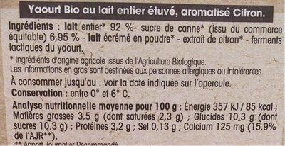 Yaourt Citron au lait entier - Informations nutritionnelles - fr