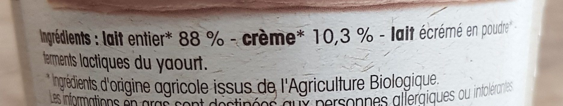 Yaourt à la Grecque au Lait Entier - Ingrédients - fr