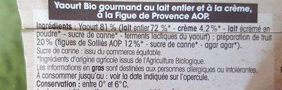 Yaourt bio gourmand figue de Solliès - Ingredients
