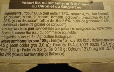 Yaourt Gourmand Citron Gingembre - Nutrition facts