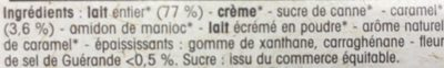 Crême Dessert bio au Caramel à la fleur de sel - Ingrédients - fr
