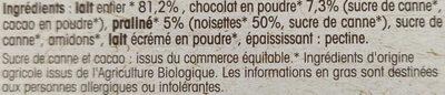 Crème dessert bio - chocolat praliné - Ingredients - fr