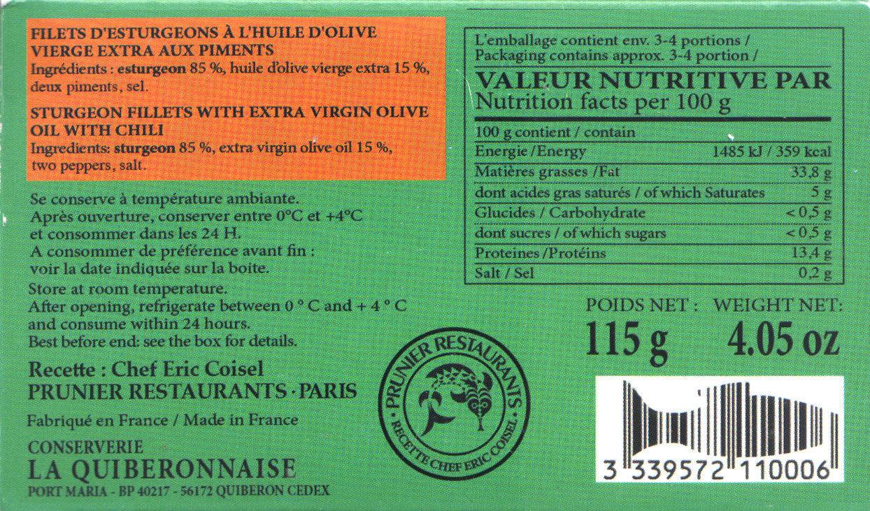 Filets d'esturgeons à l'huile d'olive vierge extra et aux piments - Ingrediënten - fr