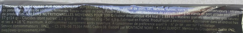 Saucisse sèche courbe Sélection - Ingrédients - fr