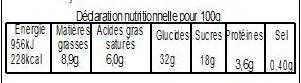 Pâté aux prunes 26 cm 1.4kg - Informations nutritionnelles - fr