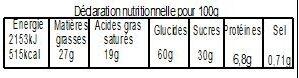 Galette Sablée Chocolat 480g avec fève - Nutrition facts - fr