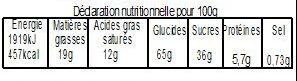 Galette sablée abricot 480g avec fève - Informations nutritionnelles - fr