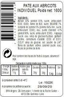 Pâté abricots individuel 160g - Ingrédients - fr