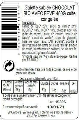 Galette Sablée Chocolat BIO 480g avec fève - Ingredients - fr
