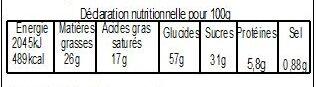 Galette Sablée Chocolat BIO 480g avec fève - Nutrition facts - fr