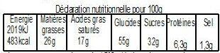 Galette Sablée caramel au beurre salé BIO avec fève 480g - Informations nutritionnelles - fr