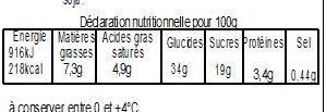 Pâté aux fruits rouges 700g - Informations nutritionnelles - fr