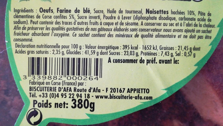 GÂTEAU CORSE NOISETTE ET CLEMENTINE - Informations nutritionnelles