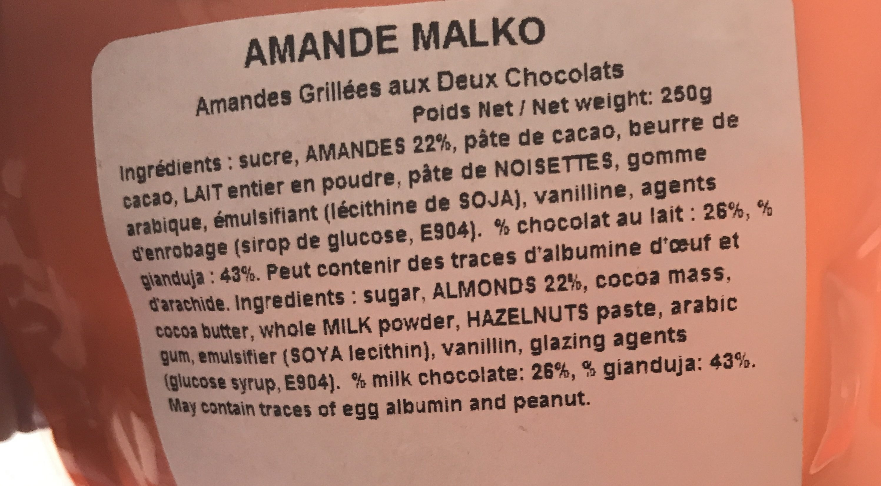 Amande malko - Ingredients - fr
