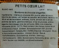 Bonbons de chocolat drageifies - Ingredients