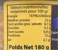 Terrine de canard aux figues artisanales - Informations nutritionnelles - fr