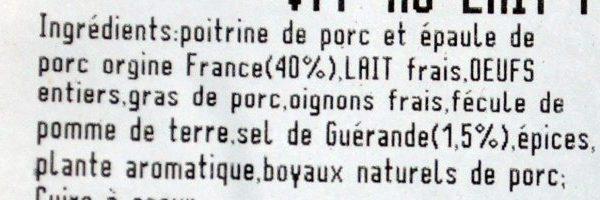 Boudin Blanc à l'Ancienne (* 8) - Ingrédients - fr