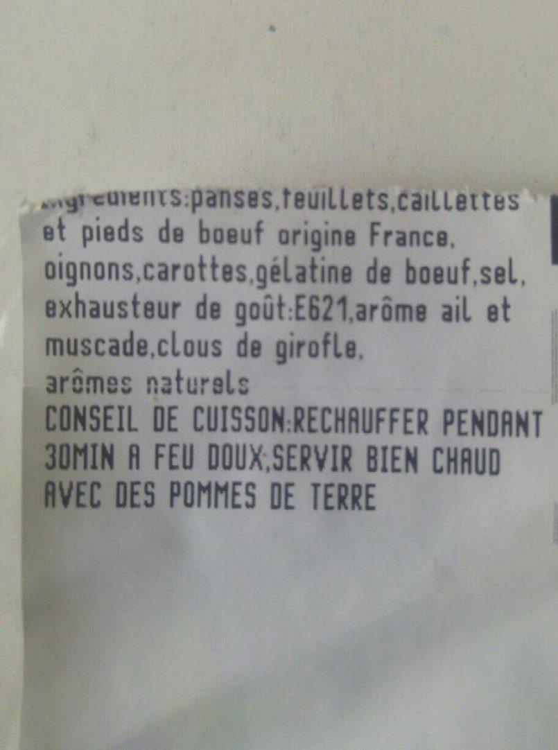 Tripes a la mode de Caen SAVEURS DES MAUGES - Ingrédients
