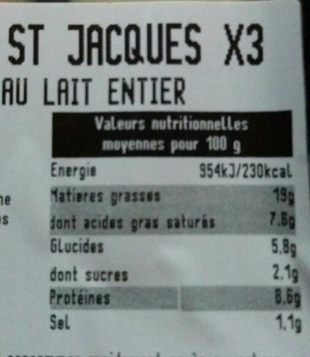 Boudin blanc St Jacques x3 - Informations nutritionnelles - fr