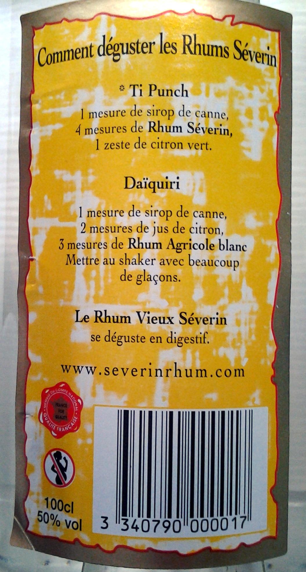Rhum Agricole de la Guadeloupe - Ingrédients - fr